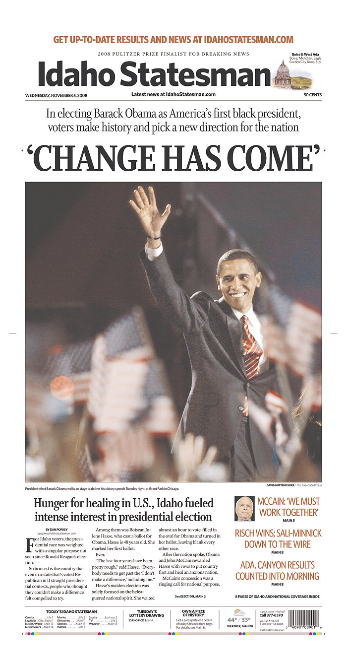 The Idaho Statesman (Boise) newspaper front page image on November 5 ...